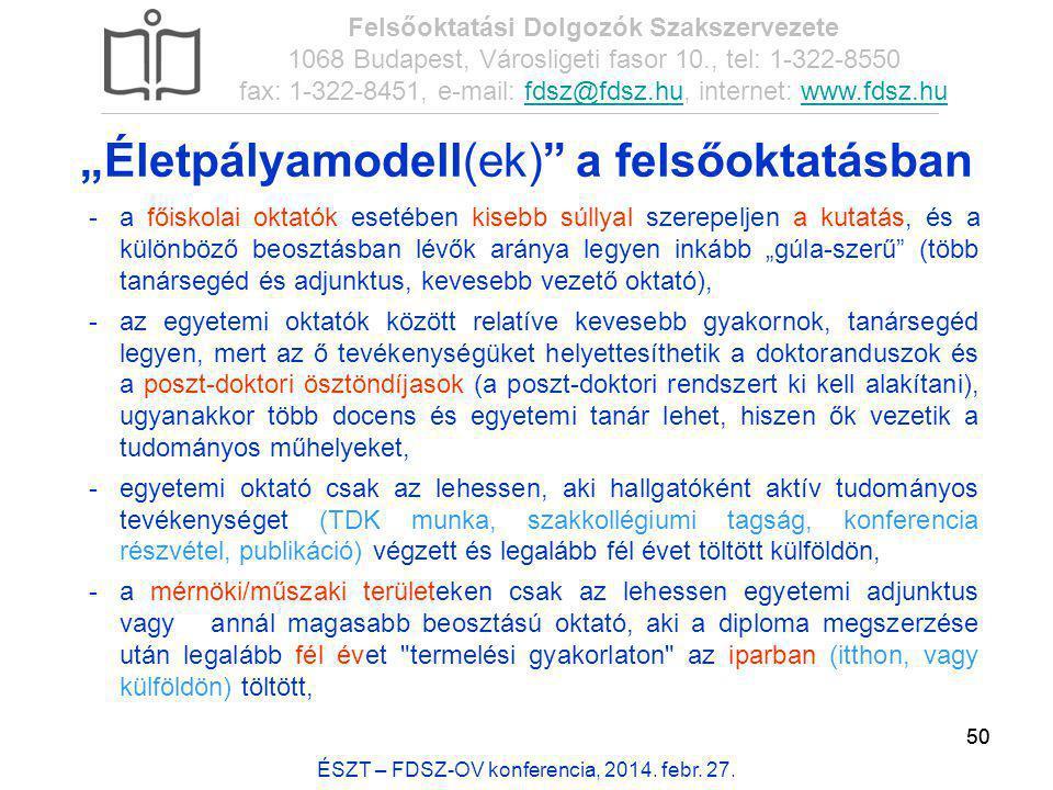 50 ÉSZT – FDSZ-OV konferencia, 2014. febr. 27. Felsőoktatási Dolgozók Szakszervezete 1068 Budapest, Városligeti fasor 10., tel: 1-322-8550 fax: 1-322-