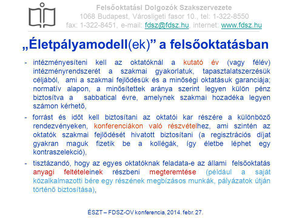 54 ÉSZT – FDSZ-OV konferencia, 2014. febr. 27. Felsőoktatási Dolgozók Szakszervezete 1068 Budapest, Városligeti fasor 10., tel: 1-322-8550 fax: 1-322-