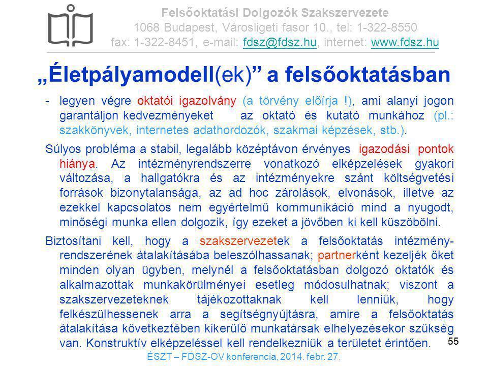 55 ÉSZT – FDSZ-OV konferencia, 2014. febr. 27. Felsőoktatási Dolgozók Szakszervezete 1068 Budapest, Városligeti fasor 10., tel: 1-322-8550 fax: 1-322-