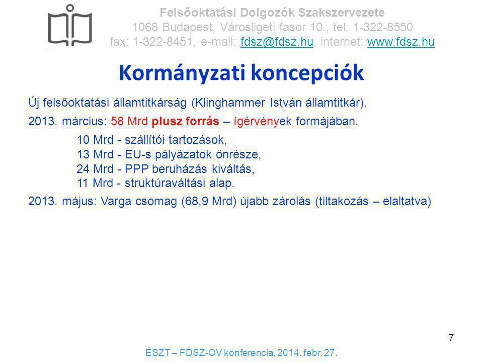 7 Új felsőoktatási államtitkárság (Klinghammer István államtitkár). 2013. március: 58 Mrd plusz forrás – ígérvények formájában. 10 Mrd -szállítói tart
