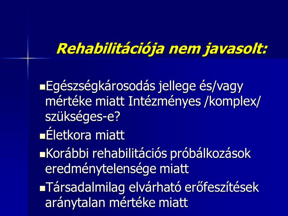 Rehabilitációja nem javasolt:  Egészségkárosodás jellege és/vagy mértéke miatt Intézményes /komplex/ szükséges-e.