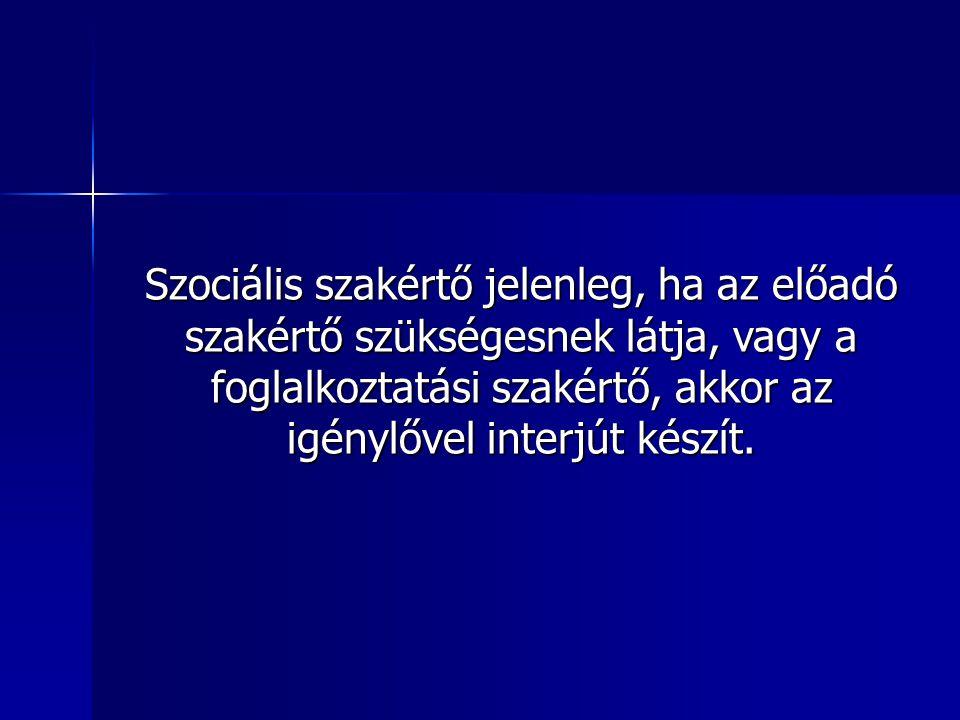 Szociális szakértő jelenleg, ha az előadó szakértő szükségesnek látja, vagy a foglalkoztatási szakértő, akkor az igénylővel interjút készít.