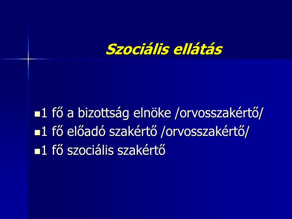 Szociális ellátás  1 fő a bizottság elnöke /orvosszakértő/  1 fő előadó szakértő /orvosszakértő/  1 fő szociális szakértő