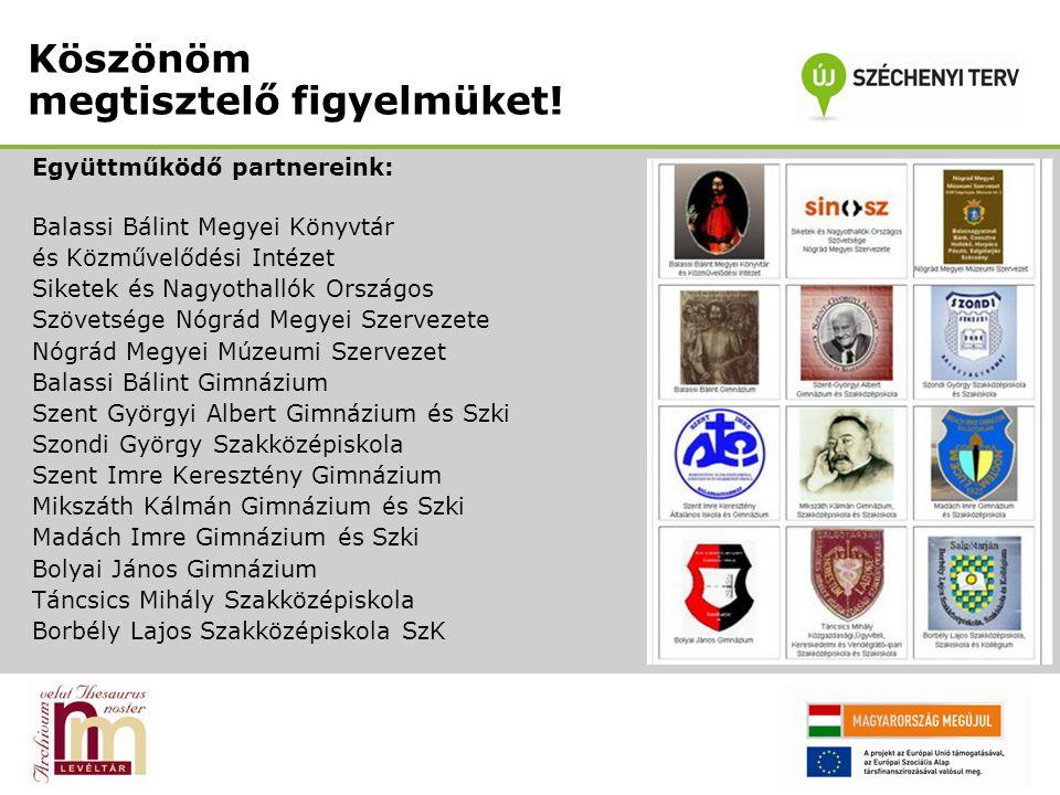Köszönöm megtisztelő figyelmüket! Együttműködő partnereink: Balassi Bálint Megyei Könyvtár és Közművelődési Intézet Siketek és Nagyothallók Országos S