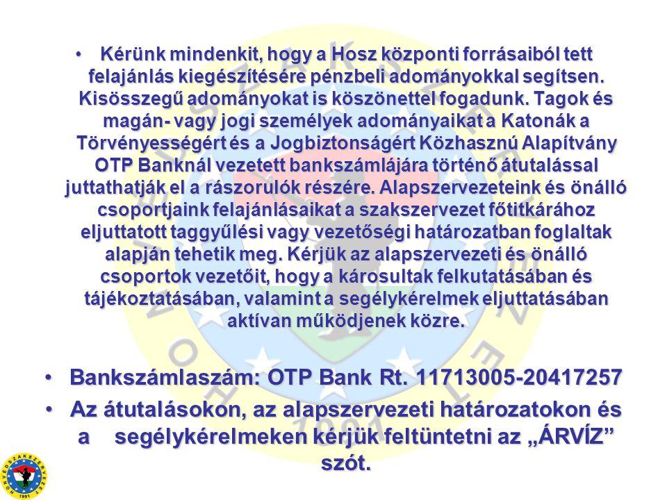 •Kérünk mindenkit, hogy a Hosz központi forrásaiból tett felajánlás kiegészítésére pénzbeli adományokkal segítsen.
