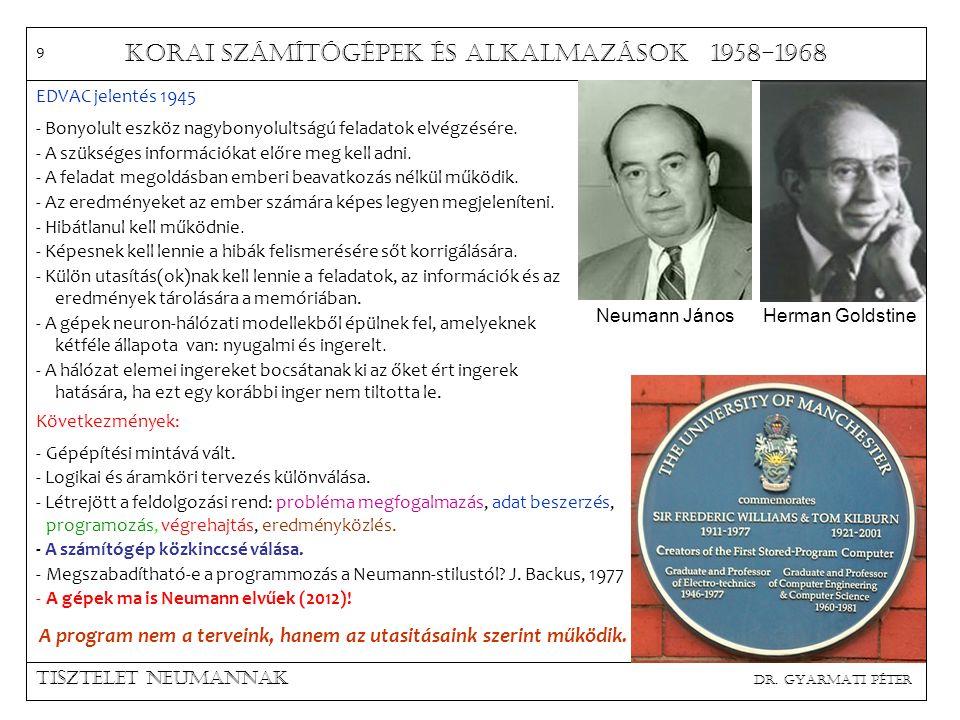Korai számítógépek és alkalmazások 1958-1968 Tisztelet neumannak dr.