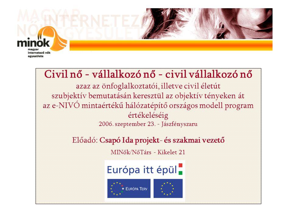 Civil nő - vállalkozó nő - civil vállalkozó nő azaz az önfoglalkoztatói, illetve civil életút szubjektív bemutatásán keresztül az objektív tényeken át az e-NIVÓ mintaértékű hálózatépítő országos modell program értékeléséig 2006.