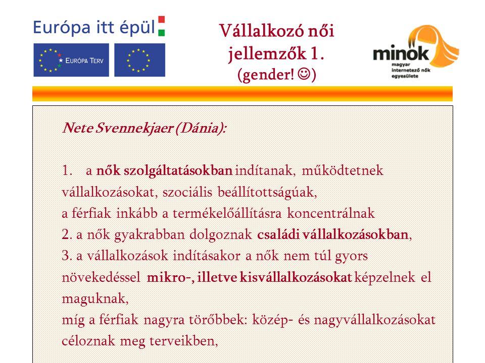 Nete Svennekjaer (Dánia): 1.a nők szolgáltatásokban indítanak, működtetnek vállalkozásokat, szociális beállítottságúak, a férfiak inkább a termékelőállításra koncentrálnak 2.
