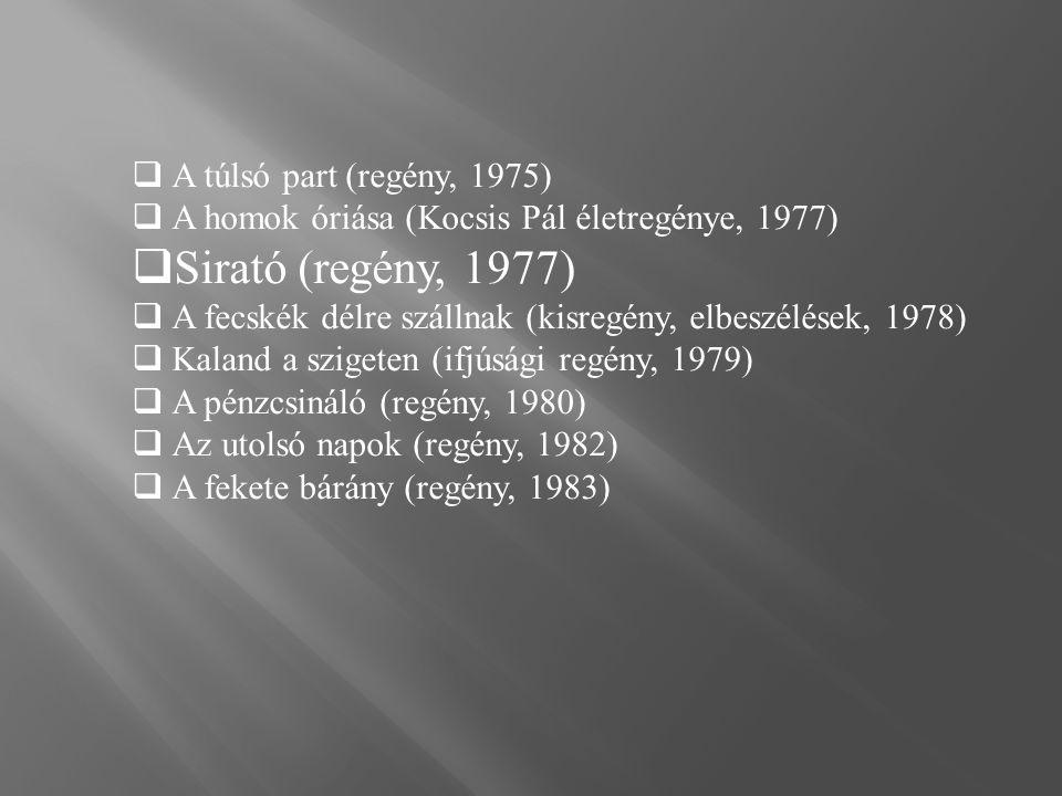  Felszáll a köd (regény, 1983)  Vihar után szivárvány (regény, 1988)  Akikért nem szólt a harang (regény, 1991)  Irgalom nélkül (elbeszélés,Békéscsaba, 1994)  Újvidéki kaland (elbeszélés, 1995)  A reménység hídja (Logos, 1999)  Imádság és vallomás (Estrade-City Kft 1999 )  Hajnali madárfütty (Estrade-City Kft 2000 )  Búcsúzik a kapitány (tárcák gyűjteménye, Budapest, 2006)  For whom the bell did not toll (Budapest, Erdélyért 2007)