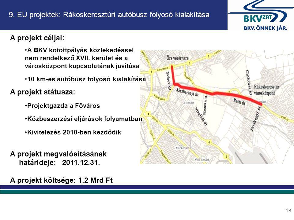 9. EU projektek: Rákoskeresztúri autóbusz folyosó kialakítása A projekt céljai: •A BKV kötöttpályás közlekedéssel nem rendelkező XVII. kerület és a vá