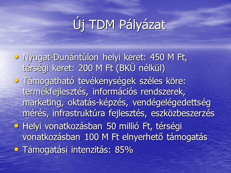 Új TDM Pályázat • Nyugat-Dunántúlon helyi keret: 450 M Ft, térségi keret: 200 M Ft (BKÜ nélkül) • Támogatható tevékenységek széles köre: termékfejlesztés, információs rendszerek, marketing, oktatás-képzés, vendégelégedettség mérés, infrastruktúra fejlesztés, eszközbeszerzés • Helyi vonatkozásban 50 millió Ft, térségi vonatkozásban 100 M Ft elnyerhető támogatás • Támogatási intenzitás: 85%