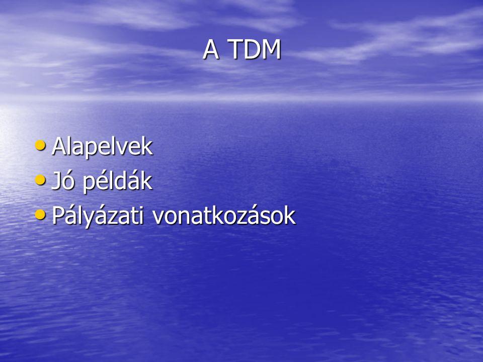 A TDM • Alapelvek • Jó példák • Pályázati vonatkozások