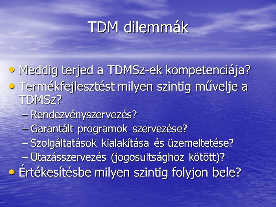 TDM dilemmák • Meddig terjed a TDMSz-ek kompetenciája.