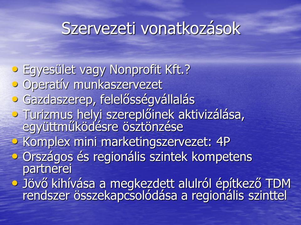 Szervezeti vonatkozások • Egyesület vagy Nonprofit Kft..
