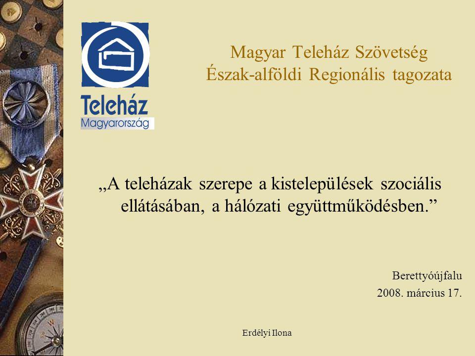 """Erdélyi Ilona Magyar Teleház Szövetség Észak-alföldi Regionális tagozata """"A teleházak szerepe a kistelepülések szociális ellátásában, a hálózati együttműködésben. Berettyóújfalu 2008."""
