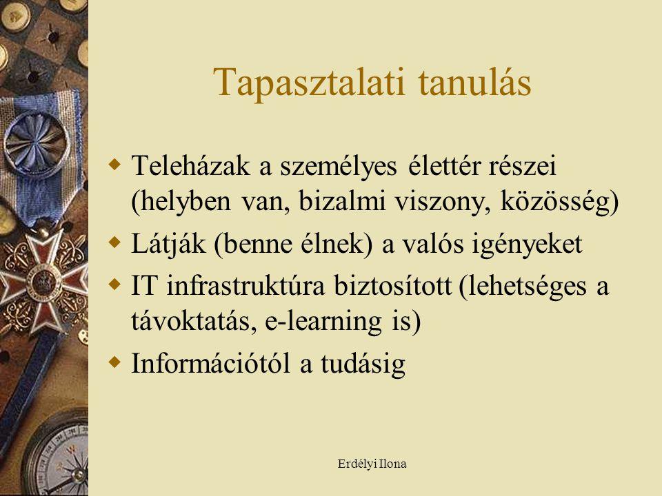 Erdélyi Ilona Tapasztalati tanulás  Teleházak a személyes élettér részei (helyben van, bizalmi viszony, közösség)  Látják (benne élnek) a valós igényeket  IT infrastruktúra biztosított (lehetséges a távoktatás, e-learning is)  Információtól a tudásig