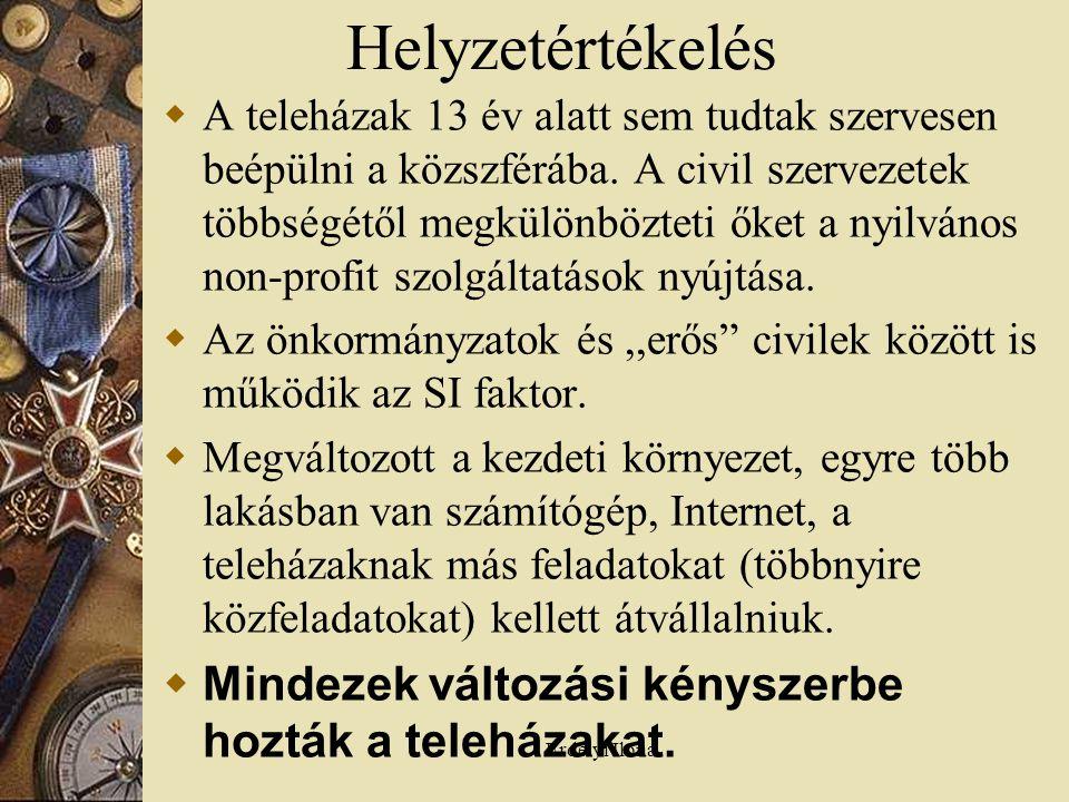 Erdélyi Ilona Helyzetértékelés  A teleházak 13 év alatt sem tudtak szervesen beépülni a közszférába.