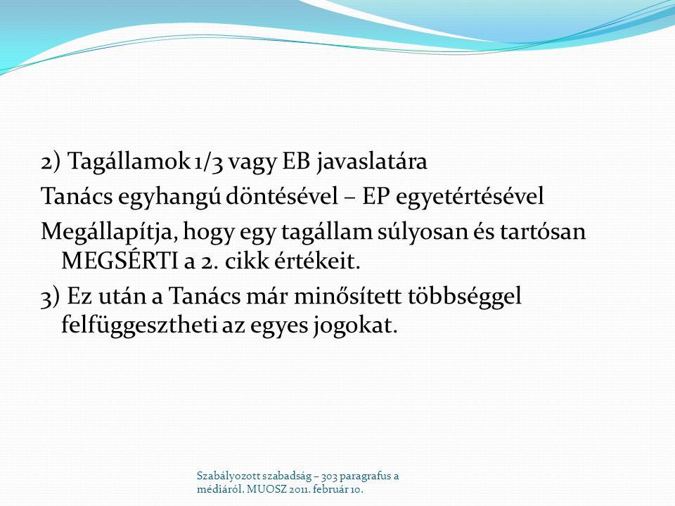 2) Tagállamok 1/3 vagy EB javaslatára Tanács egyhangú döntésével – EP egyetértésével Megállapítja, hogy egy tagállam súlyosan és tartósan MEGSÉRTI a 2.