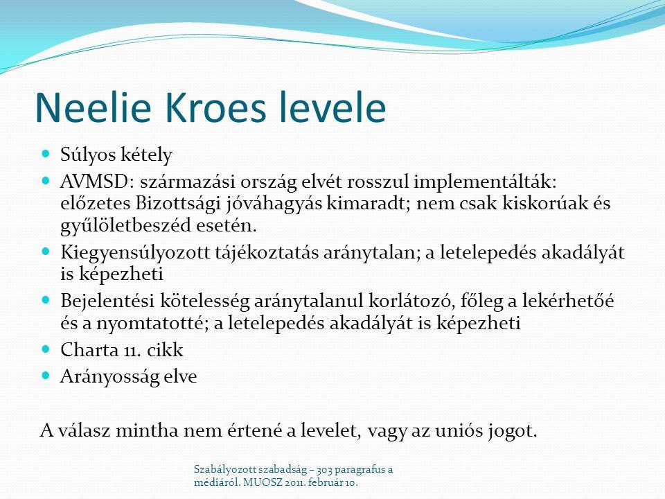 Neelie Kroes levele  Súlyos kétely  AVMSD: származási ország elvét rosszul implementálták: előzetes Bizottsági jóváhagyás kimaradt; nem csak kiskorúak és gyűlöletbeszéd esetén.