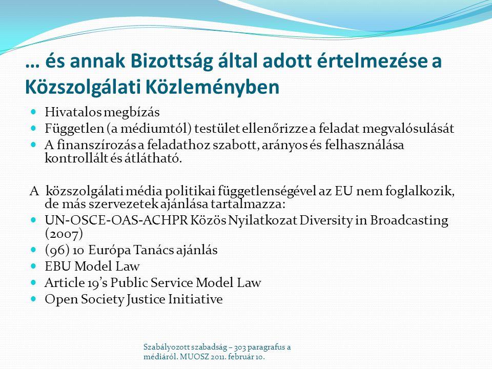 Audiovizuális Médiaszolgáltatásokról szóló irányelv (AVMSD)  Csak tévé és tévé-szerű online szolgáltatások  Származási ország elve  Csak kiskorúak védelme és gyűlöletbeszéd  Válaszadási jog (tények esetén) Szabályozott szabadság – 303 paragrafus a médiáról.