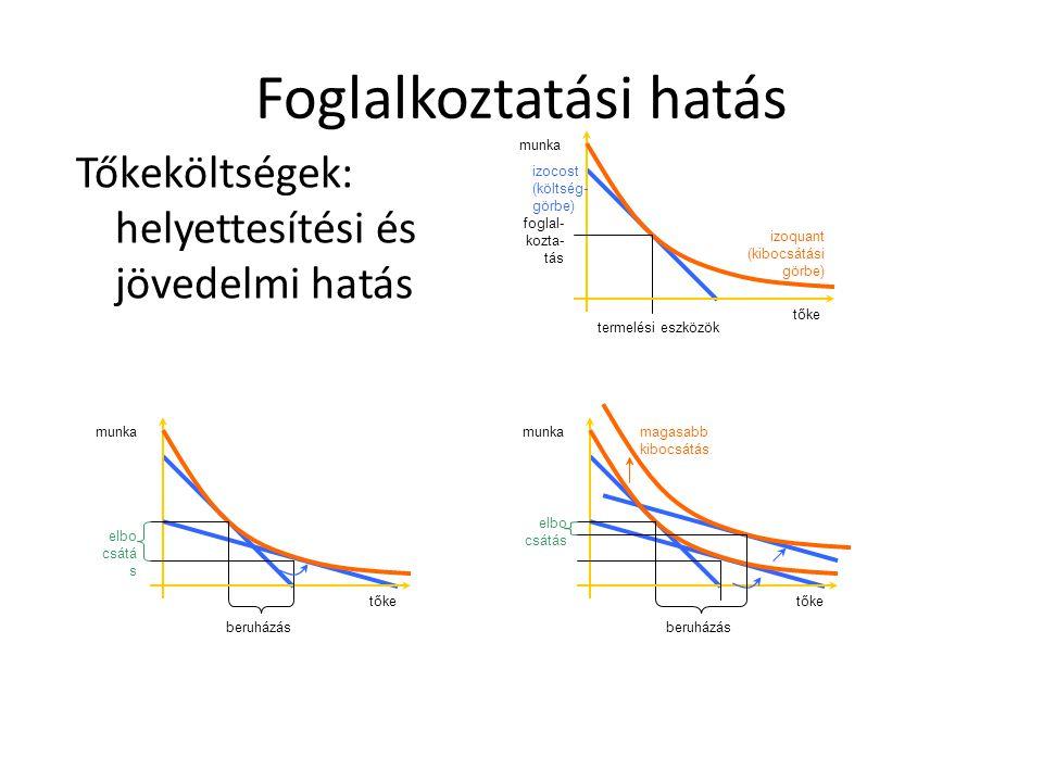 Foglalkoztatási hatás Tőkeköltségek: helyettesítési és jövedelmi hatás tőke munka foglal kozta tás termelési eszközök izoquant (kibocsátási görbe) izocost (költség görbe) elbo csátá s tőke munka beruházástőke munka elbo csátás magasabb kibocsátás beruházás