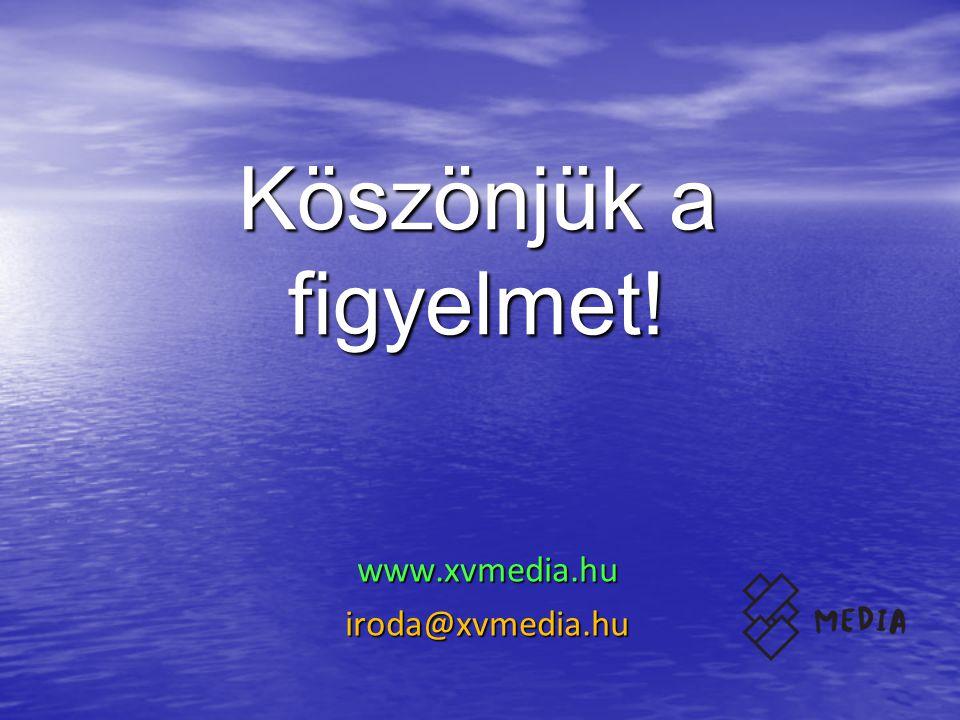 Köszönjük a figyelmet! www.xvmedia.huiroda@xvmedia.hu