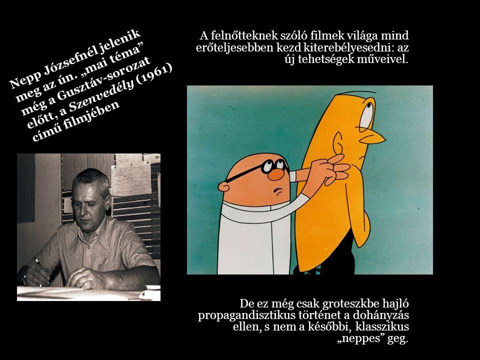 A (1964) Gusztáv- epizódokban viszont már tényleg megjelenik az a lényegretörően lecsupaszított rajz, a karikatúra stílus, amely a groteszk sajátossága.