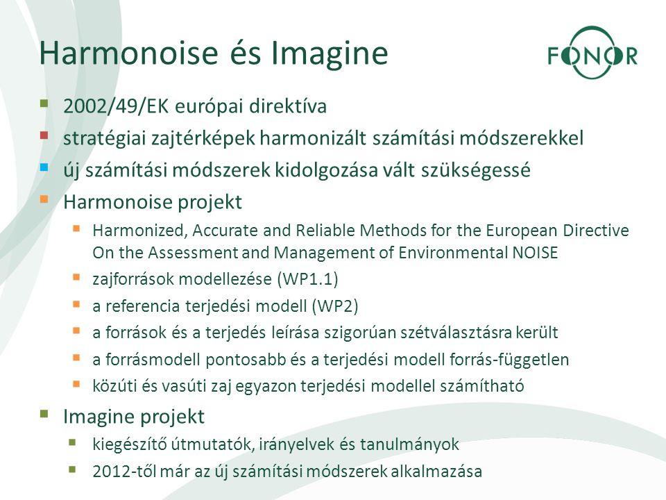 Harmonoise és Imagine  2002/49/EK európai direktíva  stratégiai zajtérképek harmonizált számítási módszerekkel  új számítási módszerek kidolgozása vált szükségessé  Harmonoise projekt  Harmonized, Accurate and Reliable Methods for the European Directive On the Assessment and Management of Environmental NOISE  zajforrások modellezése (WP1.1)  a referencia terjedési modell (WP2)  a források és a terjedés leírása szigorúan szétválasztásra került  a forrásmodell pontosabb és a terjedési modell forrás-független  közúti és vasúti zaj egyazon terjedési modellel számítható  Imagine projekt  kiegészítő útmutatók, irányelvek és tanulmányok  2012-től már az új számítási módszerek alkalmazása