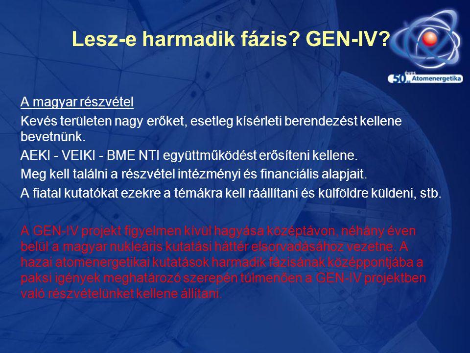 Lesz-e harmadik fázis? GEN-IV? A magyar részvétel Kevés területen nagy erőket, esetleg kísérleti berendezést kellene bevetnünk. AEKI - VEIKI - BME NTI