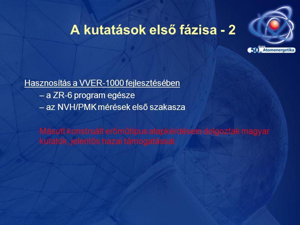 A kutatások első fázisa - 2 Hasznosítás a VVER-1000 fejlesztésében – a ZR-6 program egésze – az NVH/PMK mérések első szakasza Másutt konstruált erőműtípus alapkérdésein dolgoztak magyar kutatók, jelentős hazai támogatással.