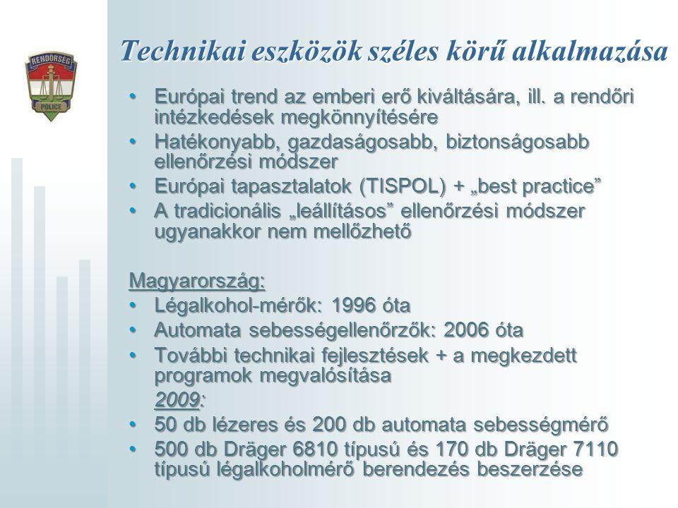 Technikai eszközök széles körű alkalmazása •Európai trend az emberi erő kiváltására, ill. a rendőri intézkedések megkönnyítésére •Hatékonyabb, gazdasá