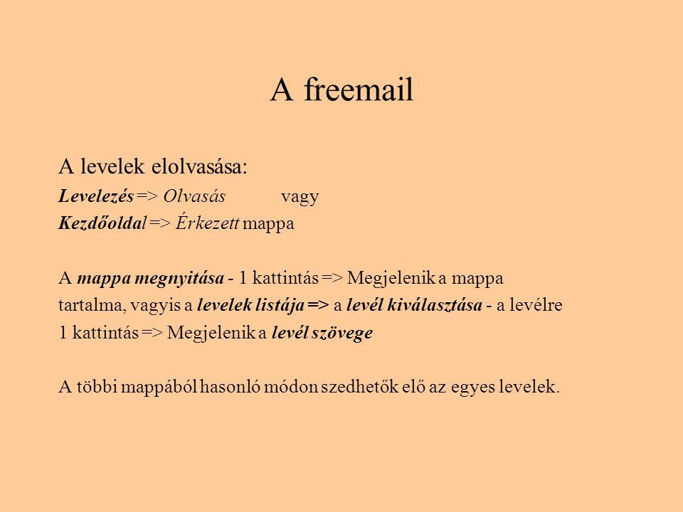 A freemail A levelek elolvasása: Levelezés => Olvasás vagy Kezdőoldal => Érkezett mappa A mappa megnyitása - 1 kattintás => Megjelenik a mappa tartalma, vagyis a levelek listája => a levél kiválasztása - a levélre 1 kattintás => Megjelenik a levél szövege A többi mappából hasonló módon szedhetők elő az egyes levelek.