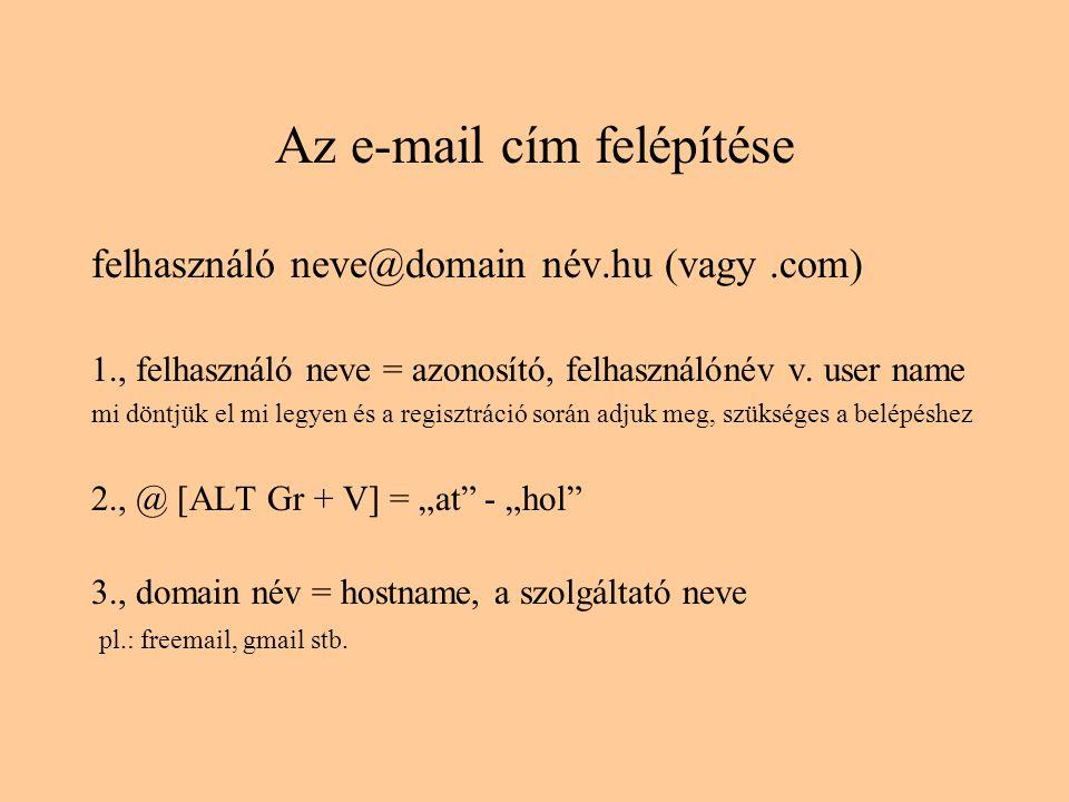 Az e-mail cím felépítése felhasználó neve@domain név.hu (vagy.com) 1., felhasználó neve = azonosító, felhasználónév v.
