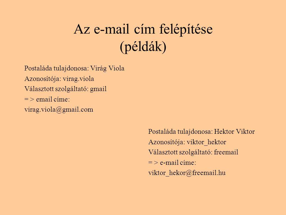 Az e-mail cím felépítése (példák) Postaláda tulajdonosa: Virág Viola Azonosítója: virag.viola Választott szolgáltató: gmail = > email címe: virag.viola@gmail.com Postaláda tulajdonosa: Hektor Viktor Azonosítója: viktor_hektor Választott szolgáltató: freemail = > e-mail címe: viktor_hekor@freemail.hu