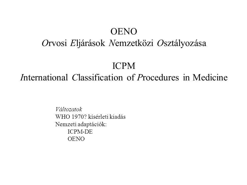 OENO Orvosi Eljárások Nemzetközi Osztályozása ICPM International Classification of Procedures in Medicine Változatok WHO 1970? kísérleti kiadás Nemzet