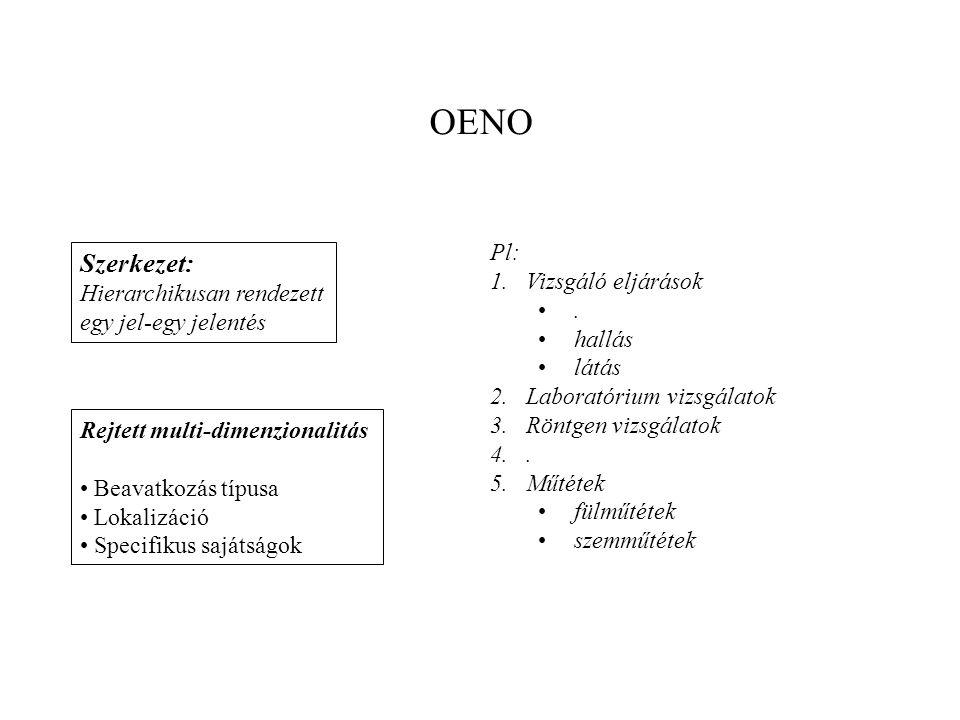 Szerkezet: Hierarchikusan rendezett egy jel-egy jelentés Rejtett multi-dimenzionalitás • Beavatkozás típusa • Lokalizáció • Specifikus sajátságok Pl: