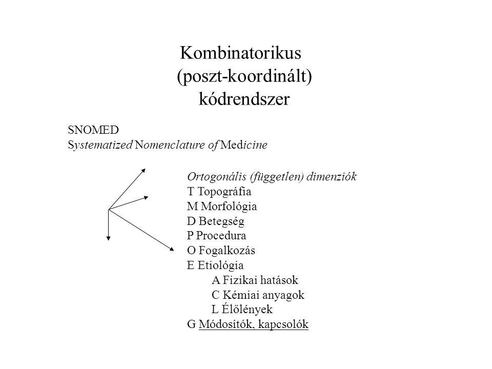 Kombinatorikus (poszt-koordinált) kódrendszer SNOMED Systematized Nomenclature of Medicine Ortogonális (független) dimenziók T Topográfia M Morfológia