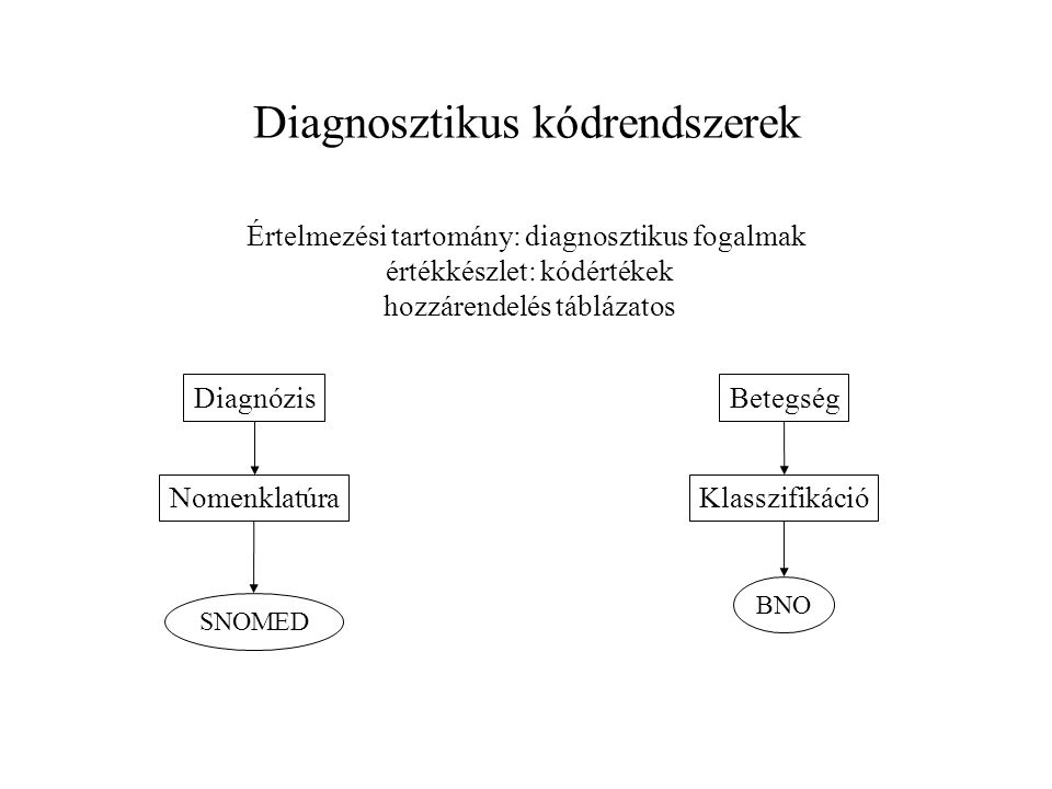 Diagnosztikus kódrendszerek Értelmezési tartomány: diagnosztikus fogalmak értékkészlet: kódértékek hozzárendelés táblázatos DiagnózisBetegség Nomenkla