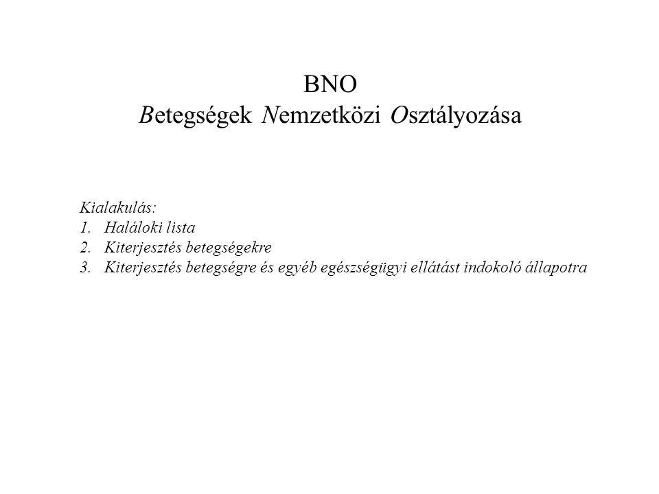 BNO Egyszerű hierarchia: • Főcsoport • ??.Blokk • Csoport (3 jegyű tétel) • Tétel (4 jegyű) •5.