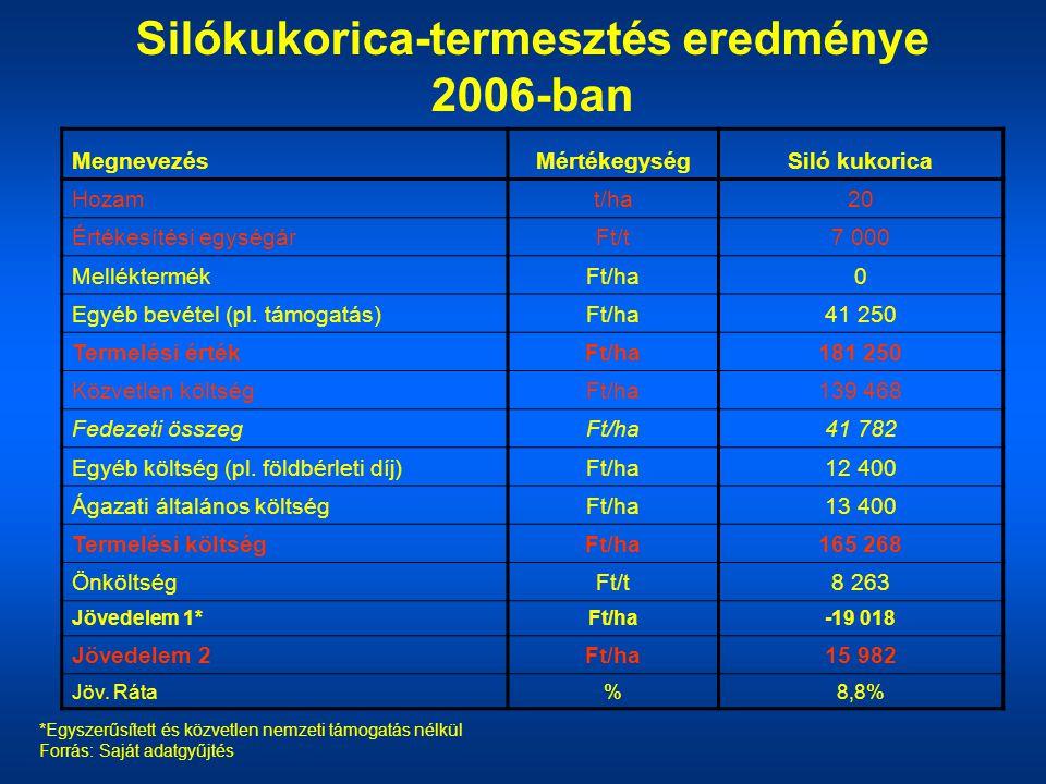 Silókukorica-termesztés eredménye 2006-ban *Egyszerűsített és közvetlen nemzeti támogatás nélkül Forrás: Saját adatgyűjtés MegnevezésMértékegységSiló