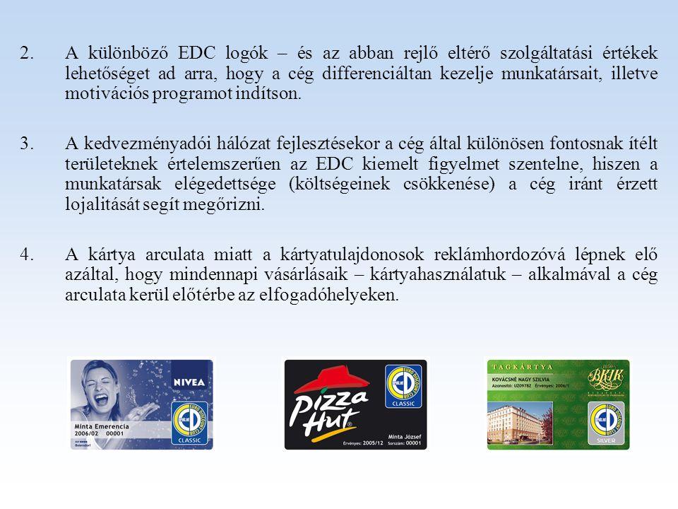 2.A különböző EDC logók – és az abban rejlő eltérő szolgáltatási értékek lehetőséget ad arra, hogy a cég differenciáltan kezelje munkatársait, illetve motivációs programot indítson.