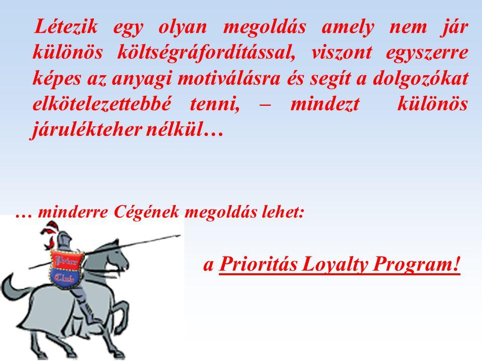 Létezik egy olyan megoldás amely nem jár különös költségráfordítással, viszont egyszerre képes az anyagi motiválásra és segít a dolgozókat elkötelezettebbé tenni, – mindezt különös járulékteher nélkül… … minderre Cégének megoldás lehet: a Prioritás Loyalty Program!