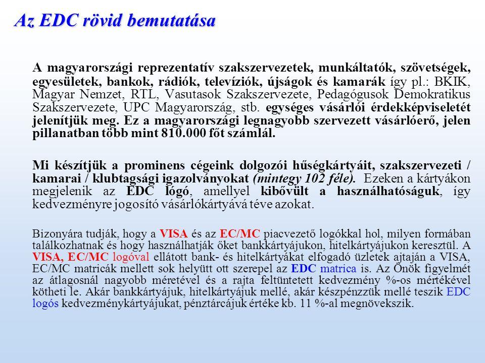 Az EDC rövid bemutatása A magyarországi reprezentatív szakszervezetek, munkáltatók, szövetségek, egyesületek, bankok, rádiók, televíziók, újságok és kamarák így pl.: BKIK, Magyar Nemzet, RTL, Vasutasok Szakszervezete, Pedagógusok Demokratikus Szakszervezete, UPC Magyarország, stb.