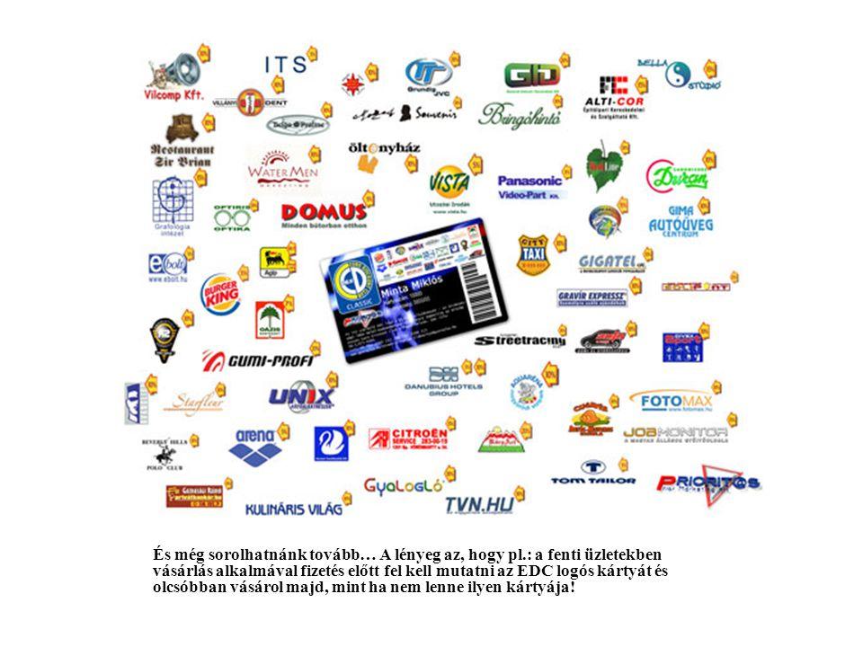 1.A kártyatulajdonosok és a cég előnyei 1.Egy EDC logós kártya használatával (minimális odafigyeléssel) tulajdonosa havi több ezer forintos megtakarítást érhet el.