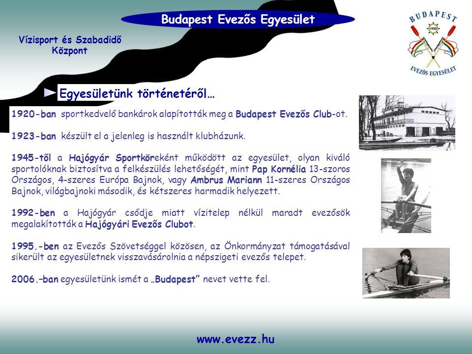www.evezz.hu Egyesületünk történetéről… 1920-ban sportkedvelő bankárok alapították meg a Budapest Evezős Club-ot. 1923-ban készült el a jelenleg is ha