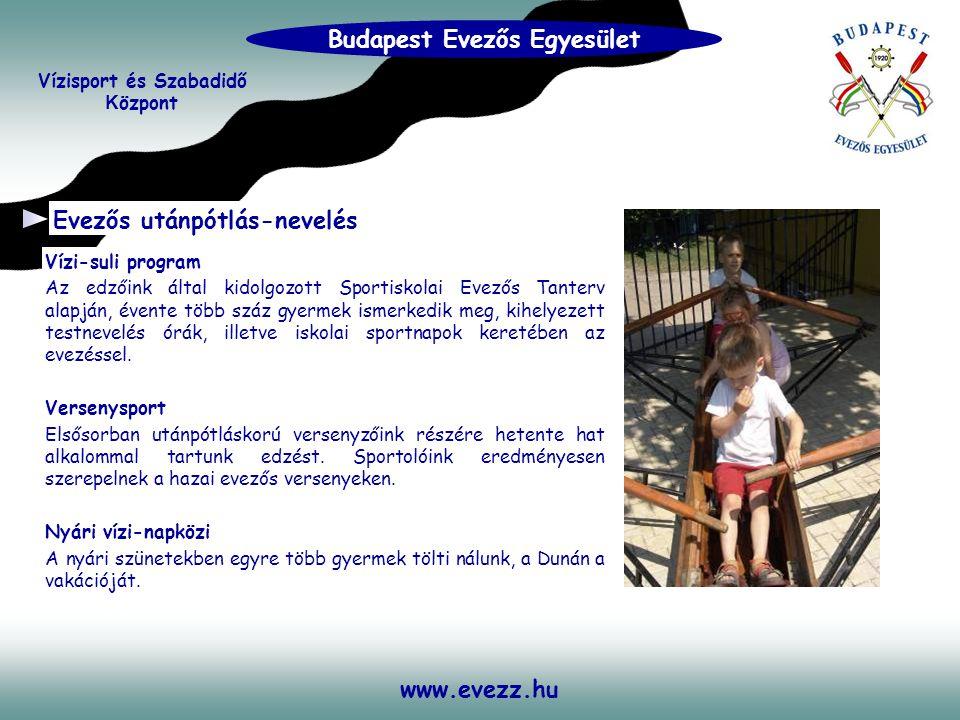 www.evezz.hu Evezős utánpótlás-nevelés Vízi-suli program Az edzőink által kidolgozott Sportiskolai Evezős Tanterv alapján, évente több száz gyermek is