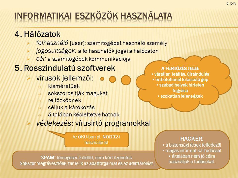 4. Hálózatok  felhasználó [user]: számítógépet használó személy  jogosultságok: a felhasználók jogai a hálózaton  cél: a számítógépek kommunikációj