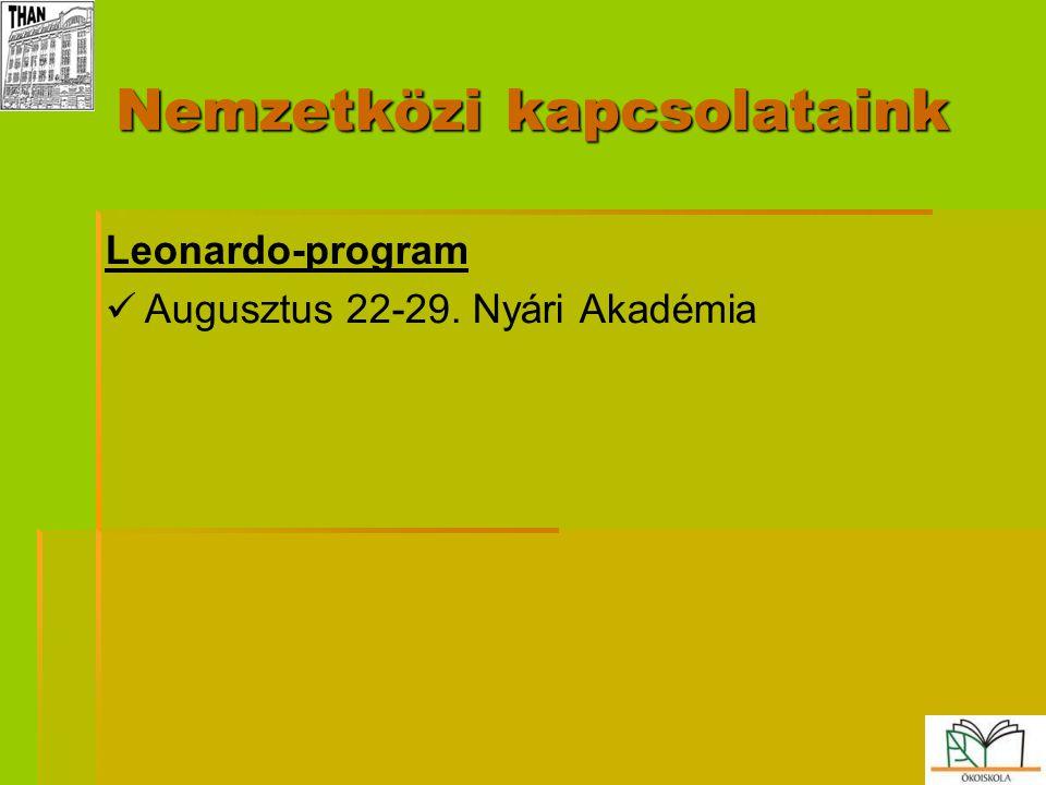 Nemzetközi kapcsolataink Leonardo-program   Augusztus 22-29. Nyári Akadémia