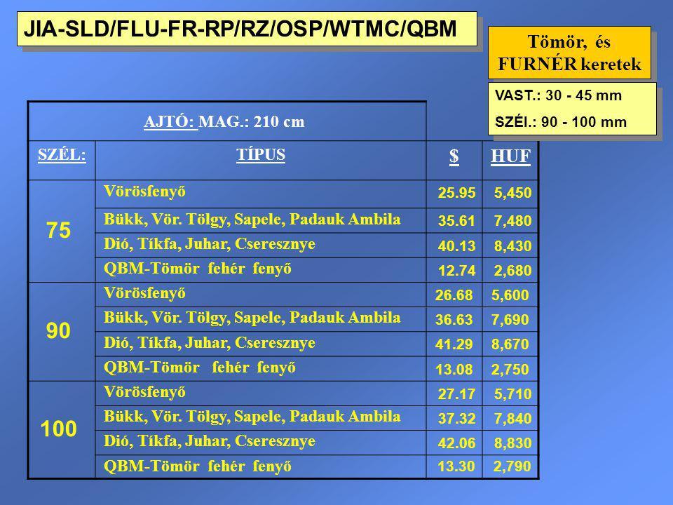 JIA-SLD/FLU-FR-RP/RZ/OSP/WTMC/QBM Tömör, és FURNÉR keretek AJTÓ: MAG.: 210 cm SZÉL:TÍPUS $HUF 75 Vörösfenyő 25.955,450 Bükk, Vör. Tölgy, Sapele, Padau