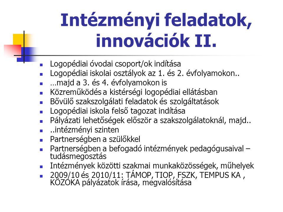 Intézményi feladatok, innovációk II.  Logopédiai óvodai csoport/ok indítása  Logopédiai iskolai osztályok az 1. és 2. évfolyamokon..  …majd a 3. és